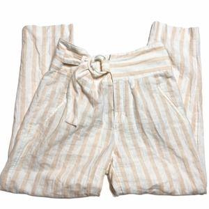 Anthropologie Linen Blend Striped Paperbag Pants